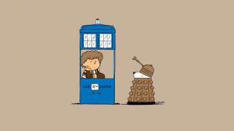 Daleks doctor who fourth peanuts comic strip tardis wallpaper