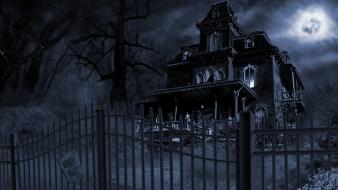 Halloween haunted house nature wallpaper