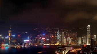 Hong kong cities city lights landscapes light wallpaper