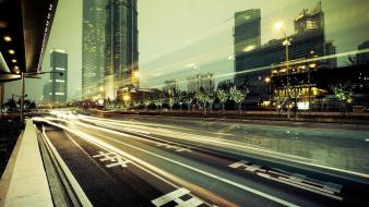 Hong kong long exposure roads wallpaper