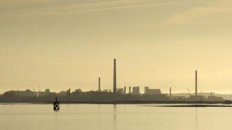Industrial chimneys factories plants landscapes wallpaper