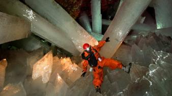 Mexico cave climber crystals giant wallpaper