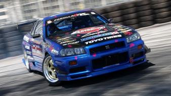 Nissan skyline r34 gt-r drifting cars Wallpaper