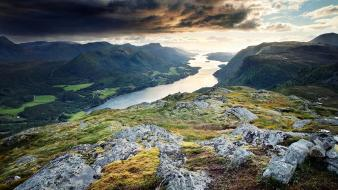 Norway dark clouds fjords grass hills wallpaper