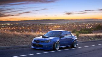 Subaru impreza wrx sti cars cities lights rims wallpaper