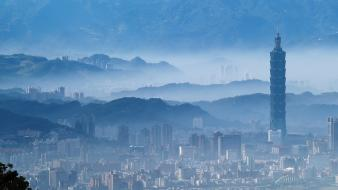 Taipei 101 taiwan blue cities cityscapes wallpaper