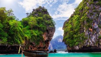 Thailand boats clouds islands landscapes Wallpaper