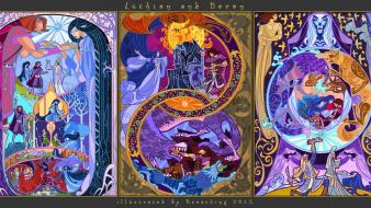 The lord of rings artwork mythology stained glass wallpaper