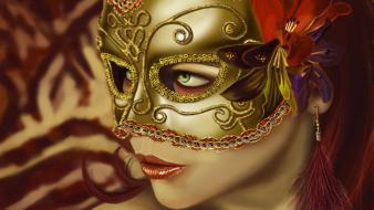 Venetian masks artwork faces fans fantasy art wallpaper