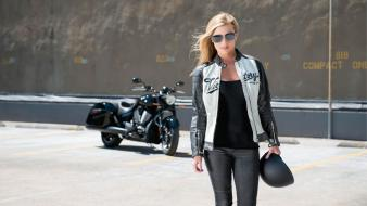 Victory cross biker girls blondes with bikes helmets wallpaper