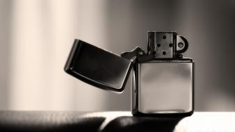 Zippo black and white closeup lighters Wallpaper