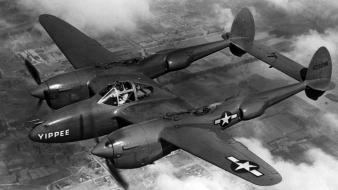 Aircraft black and white lightning lockheed military wallpaper