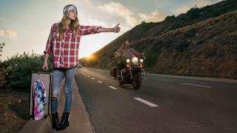 Beard biker blondes funny hitchhikers Wallpaper