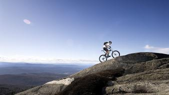 Bike climbing landscapes mountains sports wallpaper