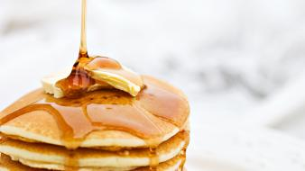 Breakfast food pancakes sweets candies wallpaper