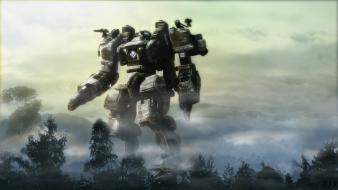 Digital art giant mechanics robots trees Wallpaper