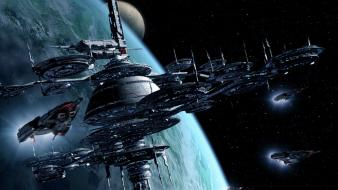 Galactic civilizations artwork fantasy art outer space spaceships wallpaper