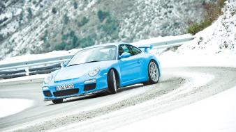 German cars porsche 911 gt3 blue drifting wallpaper