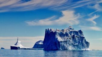 Greenland blue clouds ice icebergs Wallpaper