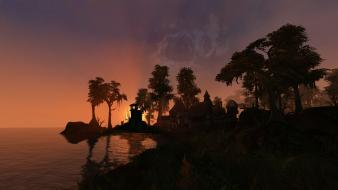 Morrowind landscapes palm trees sea sunset wallpaper