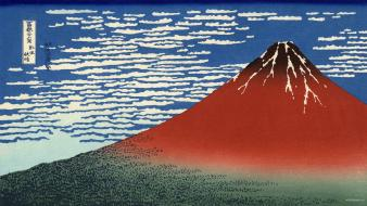 Mount fuji red thirty-six views of artwork wallpaper