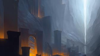 Noah bradley arches artwork buildings concept art wallpaper