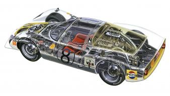 Porsche cutaway drawings engine gears racing cars wallpaper