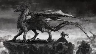 Artwork black and white dragons paintings wallpaper