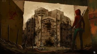 Artwork post-apocalyptic ruins wallpaper