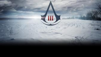 Assassins creed 3 logos snow trees wallpaper