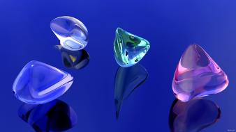 Blue background crystal digital art gems wallpaper