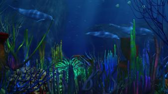 Cgi artwork digital art dolphins fish wallpaper