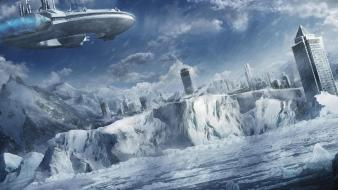 Cityscapes fantasy art futuristic ice spaceships wallpaper