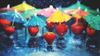 Colors fruits rain strawberries umbrellas wallpaper