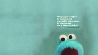Cookie monster sesame street blue quotes wallpaper