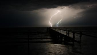 Dark night sea skyscapes storm wallpaper