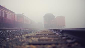 Depth of field fog mist railroads railroad tracks Wallpaper