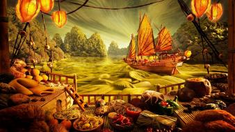 Digital art fantasy food landscapes ships wallpaper