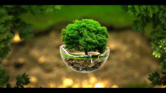 Green nature photo manipulation spheres surreal wallpaper