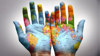 Hands worldmap wallpaper