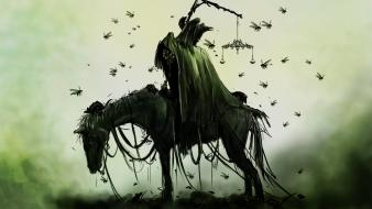 Horsemen of apocalypse animals artwork crows wallpaper