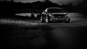 Hyundai genesis coupe cars grayscale wallpaper