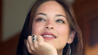 Kristin kreuk actress brunettes celebrity eyes wallpaper