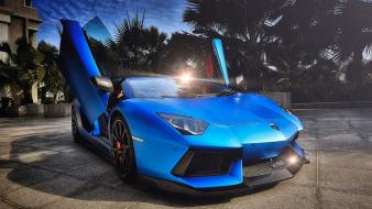 Lambo lamborghini aventador blue cars wallpaper