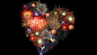 Love heart fireworks Wallpaper