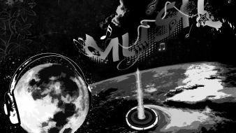 Moon black and white luna music musica wallpaper