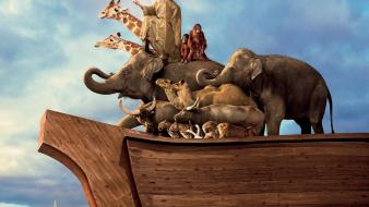 Noahs ark animals artwork elephants ships wallpaper