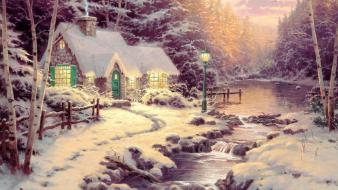 Thomas kinkade cottage evening forests glow wallpaper