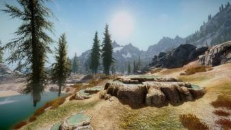 V: skyrim nature trees video games water wallpaper
