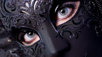 Venetian masks blue eyes fashion wallpaper